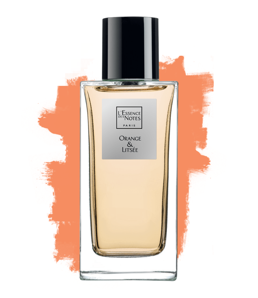 Flacon de l'eau de parfum Orange & Litsée sue fond blanc avec traces