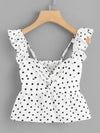 PECIJA Twist Front Frill Trim Polka Dot Top