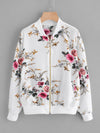 PECIJA Ribbed Trim Botanical Print Jacket