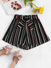 PECIJA Striped Self Tie Waist Shorts