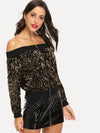 PECIJA Off Shoulder Contrast Sequin Jacket