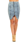 PECIJA Front Zipper Triangle Denim Skirt