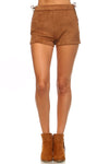 PECIJA Suede Side Tie Shorts