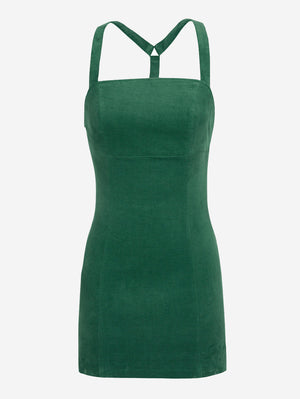 Empire Waist Corduroy Mini Dress - Mint Limit