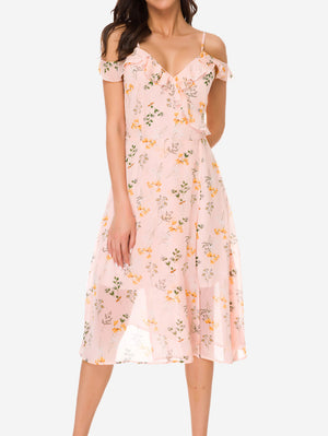V-Neck Floral Cold Shoulder Dress - Mint Limit