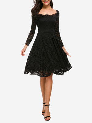 Floral Lace Boat Neck Swing Dress - Mint Limit