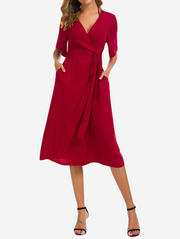 Wrap Midi Dress with Pockets In Red - Mint Limit