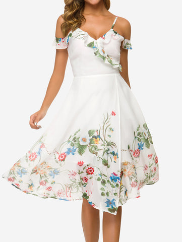 Floral Cold Shoulder Midi Dress - Mint Limit