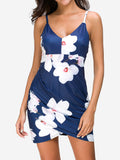 Cami Ruched Floral Mini Dress In Blue - Mint Limit