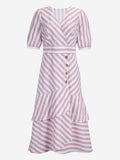 Wrap Midi Dress In Pink Stripe - Mint Limit