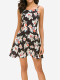 Floral Strap Sleeveless Mini Dress - Mint Limit