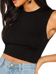 Solid Sleeveless Crop Tank Top In Black - Mint Limit