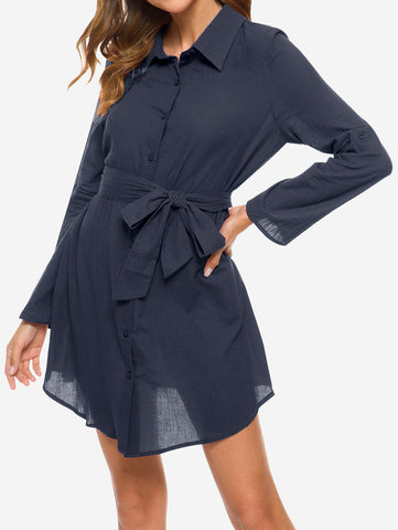V Neck Turn Collar Shirt Dress In Blue - Mint Limit