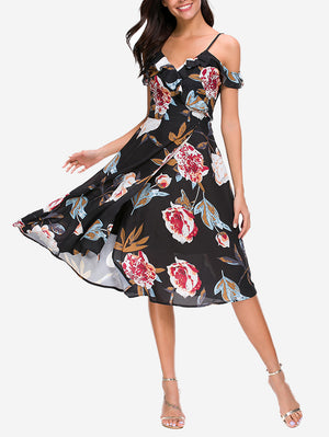 Floral Split Hem Flowy Midi Dress - Mint Limit