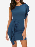 Ruffle Front Bodycon Mini Dress In Blue - Mint Limit