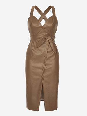 Faux Leather Button-Down Midi Dress In Khaki - Mint Limit