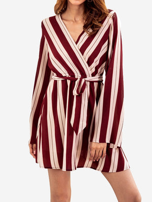 Stripe Print Belted T Shirt Dress In Red - Mint Limit