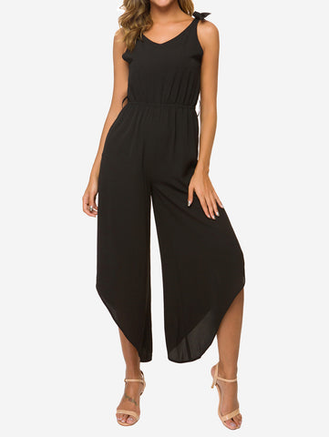Tie Shoulder Jumpsuit With Belt - Mint Limit