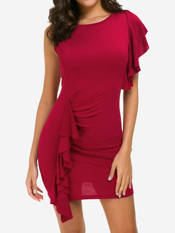 Ruffle Front Bodycon Mini Dress In Red - Mint Limit