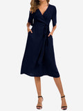 Wrap Midi Dress with Pockets In Blue - Mint Limit