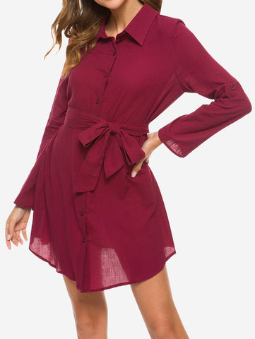 V Neck Turn Collar Shirt Dress In Red - Mint Limit