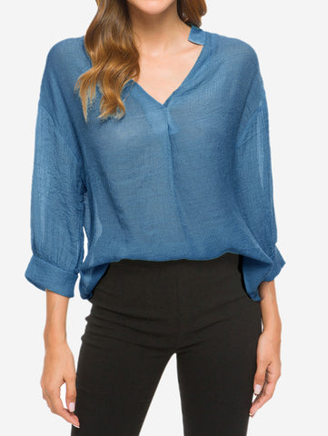 V-Neck Billowy Sleeves Blouse In Dark Blue - Mint Limit