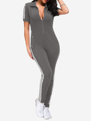 Lapel Collar Zipper Jumpsuit In Grey - Mint Limit