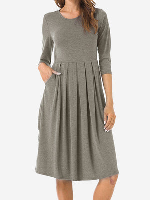 Plain Pleated Swing Dress - Mint Limit