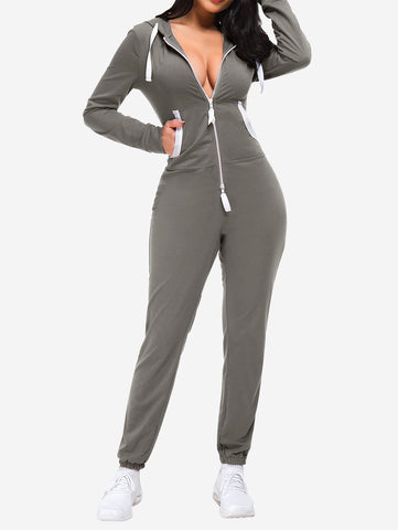 Zipper Hoodie Jogging Jumpsuits In Grey - Mint Limit