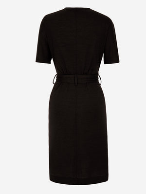 Half Sleeve Button-Down Midi Dress In Black - Mint Limit