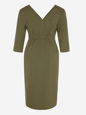 3/4 Sleeve Button-Down Midi Dress In Khaki - Mint Limit