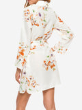 Floral Turn Down Collar Shirt Dress In White - Mint Limit