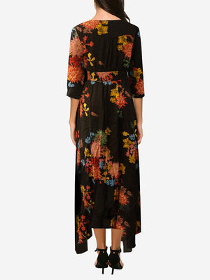 Floral Button Split Hem Maxi Dress - Mint Limit