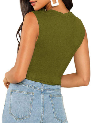 Solid Sleeveless Crop Tank Top In Green - Mint Limit