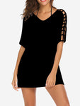 Hollow Sleeve Tunic Mini Dress In Black - Mint Limit