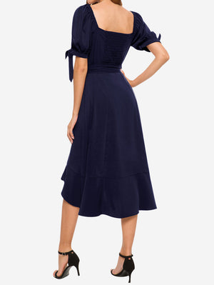 Puff Sleeves Midi Dress In Dark Blue - Mint Limit