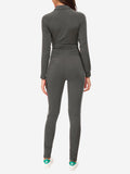 Zipper Sport Fitness Jumpsuit In Grey - Mint Limit