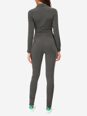 Zipper Sport Fitness Jumpsuit In Grey