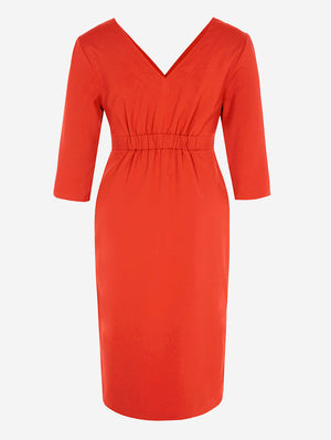 3/4 Sleeve Button-Down Midi Dress In Red - Mint Limit