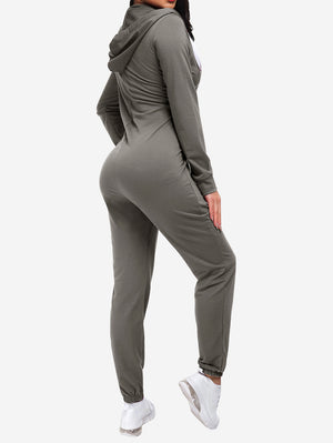 Zipper Hoodie Jogging Jumpsuits In Grey
