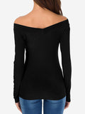 Slim Fit Off Shoulder Tops Shirt In Black - Mint Limit