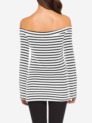 Stripe Print Off Shoulder Tees - Mint Limit