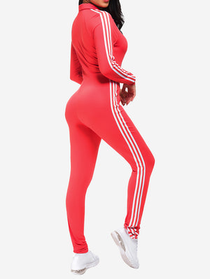 Zipper Sport Fitness Jumpsuit In Red