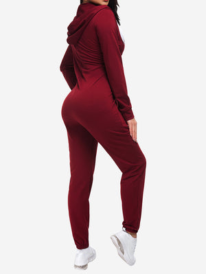 Zipper Hoodie Jogging Jumpsuits In Red