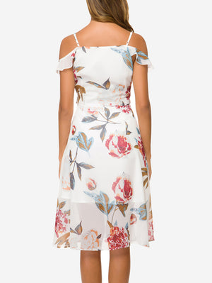 Cold Shoulder Flowy Hem Midi Dress - Mint Limit