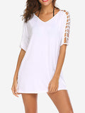 Hollow Sleeve Tunic Mini Dress In White - Mint Limit