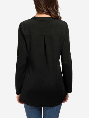 Zip Front V-Neck Tunic Tops In Black - Mint Limit