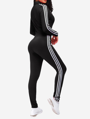 Zipper Sport Fitness Jumpsuit In Black
