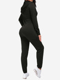 Zipper Hoodie Jogging Jumpsuits In Black - Mint Limit