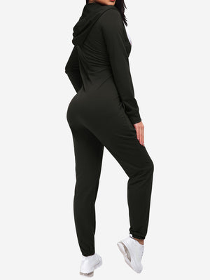 Zipper Hoodie Jogging Jumpsuits In Black